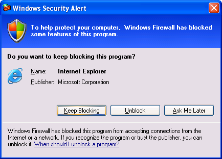 A Windows Firewall message telling me it has blocked MS Internet Explorer.